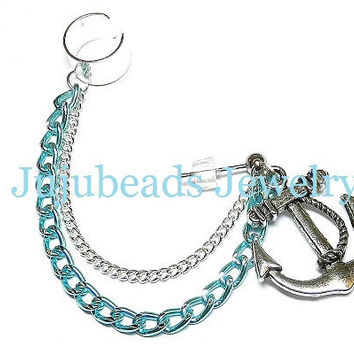READY to be SHIPPED Blue and Silver Anchor Chain Ear by jujubee4