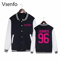 Vsenfo Korean Fashion Women Sweatshirt Blackpink Kpop Casual Baseball Jacket Coat Lisa Jennie Jisoo Rose Blackpink Hoodies