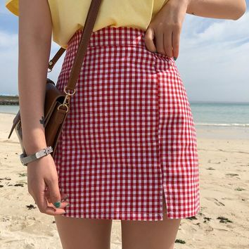 Toto Red Plaid Skirt
