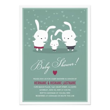 Bunny Family Couples Baby Shower Invitation Teal