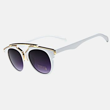 White Cat Eye Metal Sunglasses | Brow Bar Sunglasses