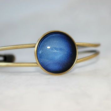 Neptune Bracelet, Antique Bronze Bracelet, Glass Cabochon, Galaxy Jewelry