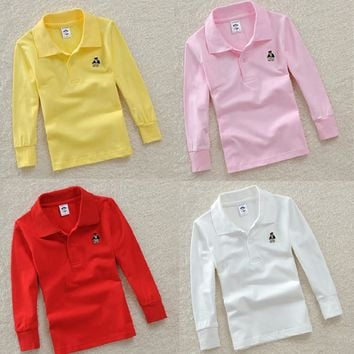 Top quality boys girls plain white red t shirt for kids toddler big boy clothing children t-shirts long sleeve cotton polo shirt