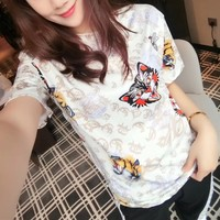 Gucci Personality Tiger Head Letter Rose Flower Print Women Casual Short Sleeve T-shirt Top Tee