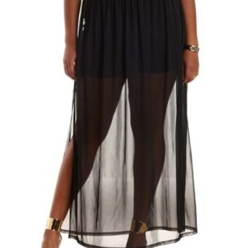 Plus Size Black Sheer Mesh Maxi Skirt by Charlotte Russe