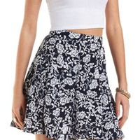 Textured Floral Print Skater Skirt by Charlotte Russe