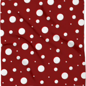 Mushroom pattern bandana, classic polka dot, asymetric design, dark red, scarlet, white dots