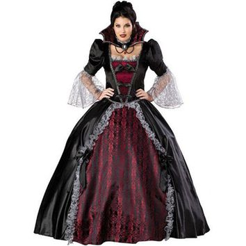 ICIKHY9 New high quality Black Queen dress Halloween Costumes for Women Sexy Vampire Witch Cosplay Party Costume Carnival Of Princess