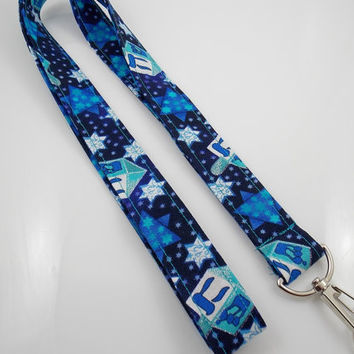 Dreidel Lanyard Hanukkah Lanyard Jewish Lanyard Holiday Lanyard Teacher Lanyard Hebrew Lanyard ID Badge Holder Dreidel Key Ring