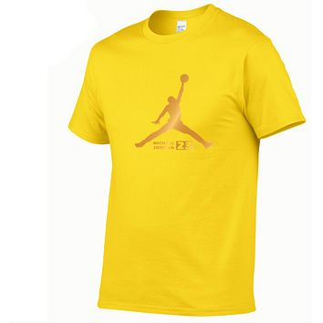 Jordan Fashion New Bust Letter Print Women Men Sports Leisure Top T-Shirt Yellow