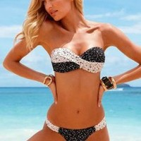 Fashion Black With White Dot Ornamental Gather Bikini