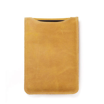 leather iPad mini sleeve, iPad mini case in yellow
