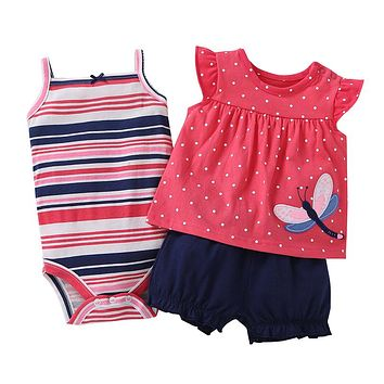 2018 free ship Baby girl clothes set kids bebes clothing summer set floral red Wave point baby romper style Sets bodysuit