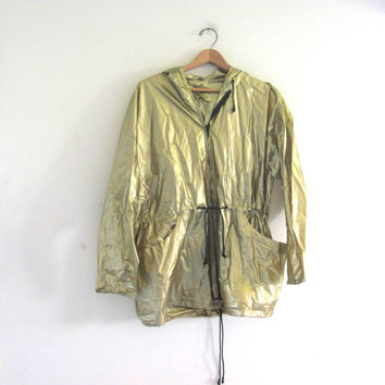 vintage gold raincoat / size M