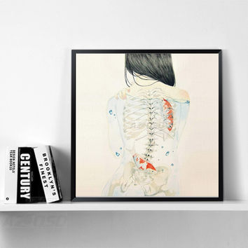 Art Prints Poster Wall Picture Watercolor Japanese Sexy Naked Tatooed Girl Hipster Fish  Canvas Painting bar Decoration PP090