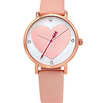 Kate Spade New York - Novelty Metro Rose Goldtone Stainless Steel & Leather Cupid Heart Watch - Saks Fifth Avenue Mobile