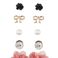 Flower and Bow Earring Set