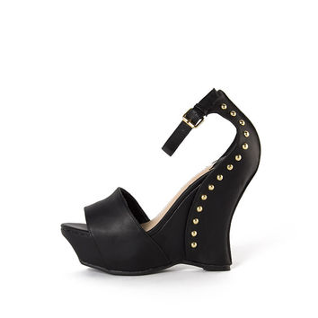 Ankle Strap Studded Wedges