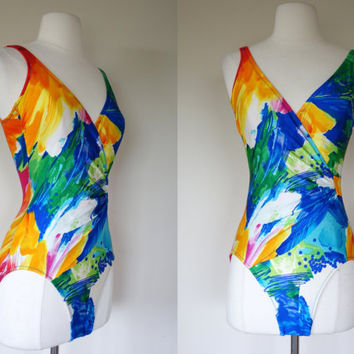 1980's swimsuit, 80's bathing suit, paint stroke swimsuit, multi color bathing suit, small bathing suit, size 6 swim suit, floral swim wear