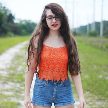 Lace Crochet Orange Brandy Melville Coachella Festival Wear Shirt Cropped Top