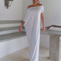 White Off Shoulder Short Sleeve Casual Maxi Dress