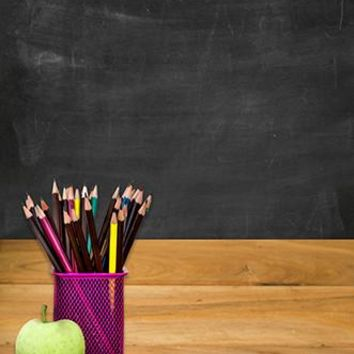 Teacher Desk Backdrop Black Chalkboard Background - 6738