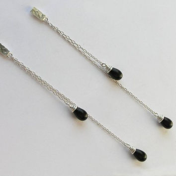 Long Dangle Post Earrings with Black Onyx - Double Chain Sterling Silver Earrings - Extra Long Earrings - Drop earrings