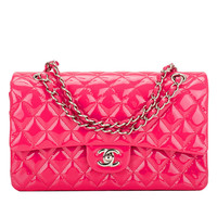 Chanel Fuchsia Pink Quilted Patent Large Classic Double Flap Bag