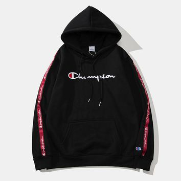 Champion new street fashion men and women cross-stitch printing hooded sweater Black