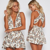 Sexy V-neck Sleeveless Backless Print Romper [52171538458]