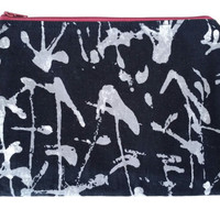Abstract Paint Splatter Zipper Pouch In Black And Grey With Red Scratch Pattern Lining