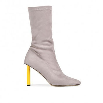 Color Pop Heel Boot Grey Yellow