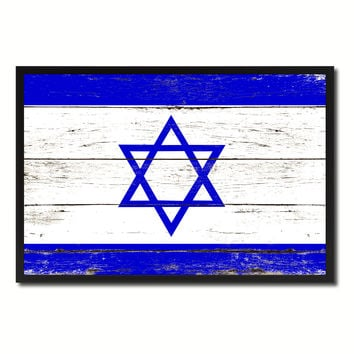 Israel Country National Flag Vintage Canvas Print with Picture Frame Home Decor Wall Art Collection Gift Ideas