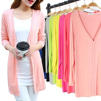 spring summer women thin trench coat Modal knitting coat  Long Shawl Air-conditioned coat Sunscreen clothing