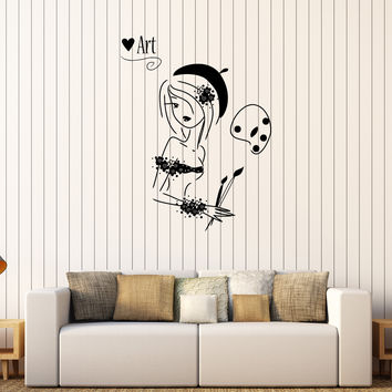 Vinyl Wall Decal Artist Painting Art Pretty Girl Stickers Unique Gift (262ig)