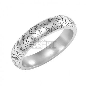 Hello Kitty Ring in Sterling Silver Metal, Hello Kitty Wedding Band Ring, Kitty Ring - ASHYL.COM
