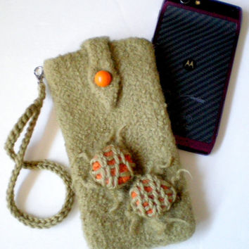 iPhone Case Felted Wool Wristlet (to fit IPhone, Droid Razr, etc. )  Squash Blossom