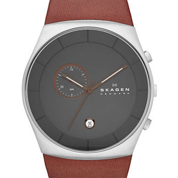 Skagen Denmark Mens Silver Tone and Leather Chronograph Watch