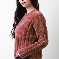 Long Sleeves Chenille Knit Sweater