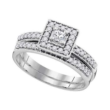 10kt White Gold Women's Princess Diamond Square Halo Bridal Wedding Engagement Ring Band Set 1/2 Cttw - FREE Shipping (US/CAN)