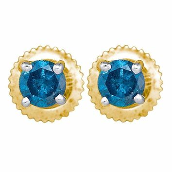 10kt Yellow Gold Women's Round Blue Color Enhanced Diamond Solitaire Stud Earrings 1.00 Cttw - FREE Shipping (US/CAN)