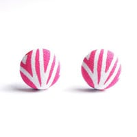 Pink Abstract Print Fabric Covered Button Earrings NICKEL FREE