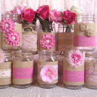 10x rustic burlap and pink lace covered mason jar vases wedding decoration, bridal shower, engagement, anniversary party decor