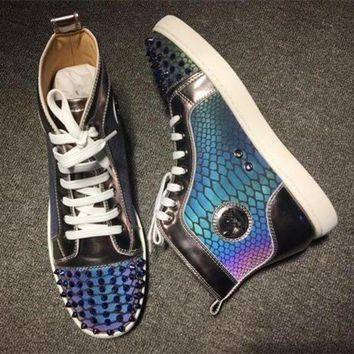 DCCK Cl Christian Louboutin Lou Spikes Style #2199 Sneakers Fashion Shoes