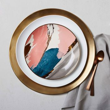 Abstract Brushstroke Salad Plate - Pink/Gold