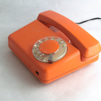 Vintage Orange Rotary Telephone 70s, Rotary Dial Phone, Working orange phone, Desk telephone, 70s modern design, Shiny orange phone
