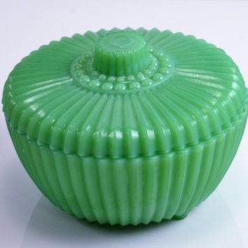 Vintage Akro Agate Green Powder Jar - Ribbed & Dots Green Slag Trinket Box w/ Lid and Ball Feet 1930s Excellent Condition - Boudoir Vanity