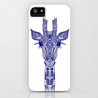 GIRAFFE BLUE iPhone & iPod Case by Monika Strigel
