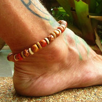 Wooden Beaded Anklet / Mens Ankle Bracelet / Unisex Stretchy Beaded Anklet / Hippie Boho Anklet / Manklet / Wooden Beaded Anklet