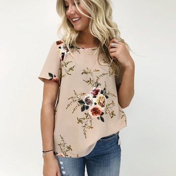 Khaki Floral Short Sleeve Round Neck T-Shirt